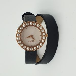 New Mimco Leather Double Wrap Black Leather Band White Pearl & Gold Tone Watch